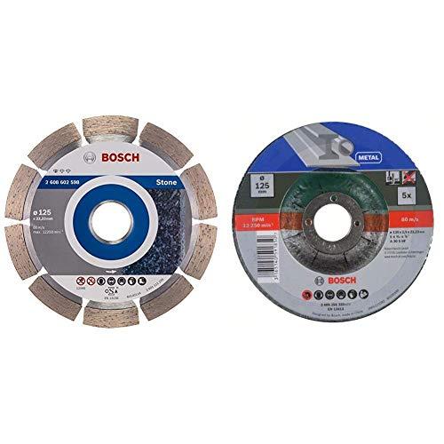 Bosch Professional Pro Diamanttrennscheibe Standard for Stone zum Schneiden von Granit und Naturstein (Ø 125 mm) & Trennscheiben-Set 5tlg. (Metall, Ø 125 mm, für Winkelschleifer)
