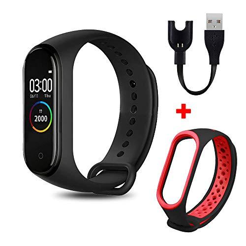 NUNGBE Braccialetto da Donna Braccialetto Intelligente con contapassi Orologio frequenza cardiaca Fitness Smart Watch Men-Black_Red per iOS Android
