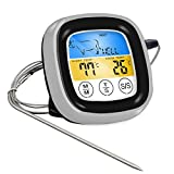 Gaoominy Termómetro digital de lectura instantánea para carne, con pantalla táctil, para cocina, termómetro de comida con temporizador para barbacoa, horno, cocina, ahumador