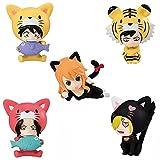 Akazan 5PCS Anime 5pcs / Set UNA Pieza Luffy Ace Nami Sanji Law Animals Cat Dog Tiger Edición Limitada PVC Figura de acción Modelo Mini Lovely Cute Toys Gift Posture Anime Game Collection