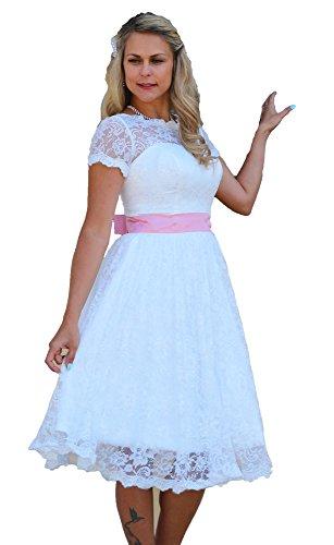 Unbekannt Brautkleid Spitze Knielang Hochzeitskleid XS S M L XL XXL XXXL XXXXL Braut Kleid Standesamt Weiß Ivory (48, Ivory)