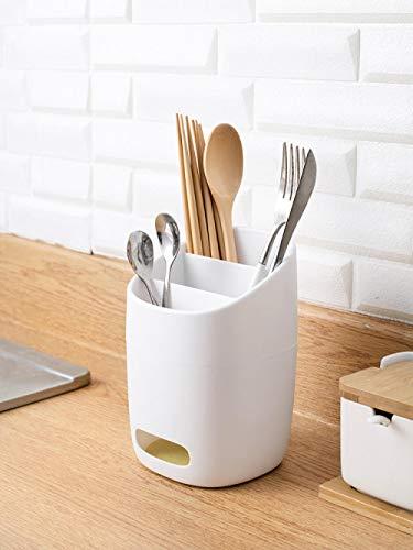 Escurridor de cubiertos simple, tenedor de almacenamiento, cuchara, espátula, plástico, duradero, blanco @ blanco