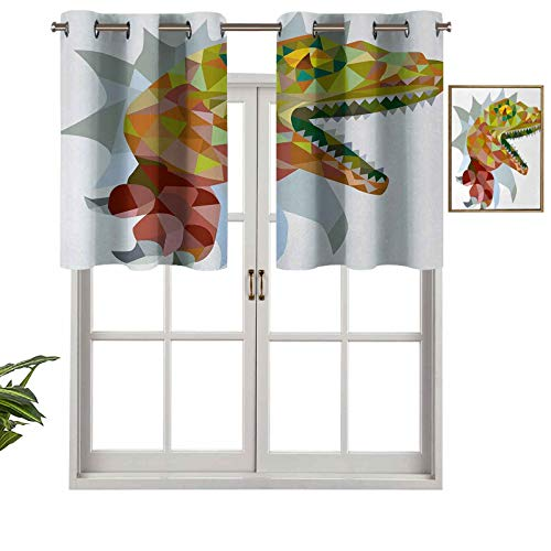 Hiiiman Blackout Valance Window Curtain Colorful Mosaic Wild Trex Illustration Opens Mouth Jurassic Pixel Dinosaur Decor, Set of 1, 42'x18' for Indoor Living Dining Room Bedroom