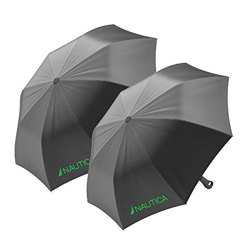 2-Pack Nautica Umbrella for Travel - Auto Open Compact, Lightweight & Folding - Best Windproof Umbrellas for Rain, Sun & Wind Protection, Small, Automatic & Collapsible in Gray