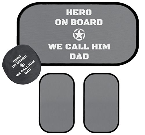 Car Sun Shades'Hero On Board, We Call Him Dad' Inspired Quality Durable 2 Shades for Side Windows and 1 Rear Window. Makes Awesome Gift for Dad. Shows Love and Appreciation (Gifts for Dad)
