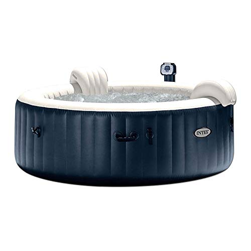 Intex 28409E PureSpa 85-in x 28-in 6 Person Home Outdoor Portable Inflatable Round Hot Tub Spa with 170 Bubble Jets and Built in Heat Pump, Blue