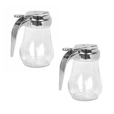 6 Oz. (Ounce) Glass Bulb Jar Syrup Dispenser, Sugar Dispenser, Retracting Spout, Dispensing Thumb-Lever, Pancake House Style (2)