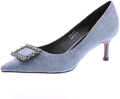 FLYRCX La Sra. Señaló Tacones de Aguja de Gamuza Diamantes de imitación Boca Baja zapatos Solos Moda Temperamento zapatos de Fiesta