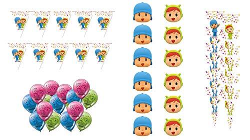 ALMACENESADAN 0769, Pack decoración Especial para Fiestas y cumpleaños Pocoyo y Nina; 6 caretas Pocoyo, 6 caretas Nina, 12 Conos Pocoyo y Nina, 16 Globos y 2 banderines (3 Metros Cada uno)