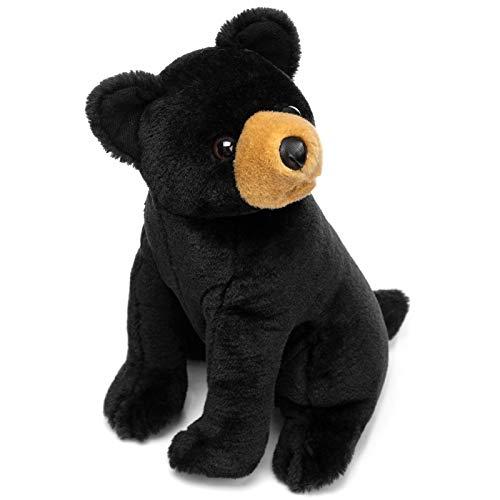 HollyHOME Plush Black Bear Stuffed Animal Realist Black Bear Plush Toy Birthday for Kids 12 Inch