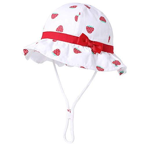 Jueshanzj - Cappello da sole per neonata, in cotone, con cinturino regolabile UPF 50+, motivo ciliegia Bianco fragola. 6-12 Mesi