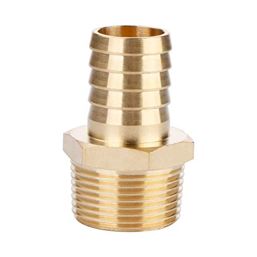 U.S. Solid Brass Hose Fitting, Adapter, 3/4 Barb x 3/4 NPT Male Pipe Fittings