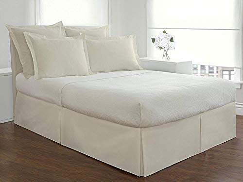 """Infiniti Collection Best 550-TC Egyptian Cotton (1-PC) Bed Skirt with 9"""" inch Drop Length (Ivory Color) Solid Pattern Tailored Bed Skirt Size (Queen 60 x 80)"""