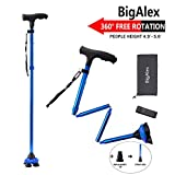 BigAlex Folding Walking Cane with LED Light,Pivoting Quad Base,Adjustable Walking Stick with Carrying Bag for Man/Woman...