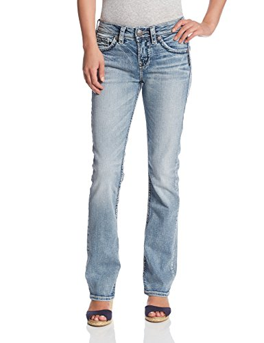 Silver Jeans Co. Damen Suki Curvy Fit High Rise Baby Bootcut Jeans, Light Wash Indigo, 26W x 33L