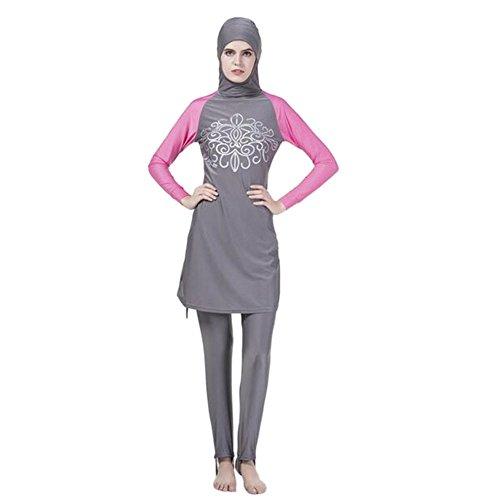 Meijunter Muslim islamisch Frauen 2-Stück Bescheiden Voller Deckel Befestigt Kappe Burkini Badeanzug Middle East Araber Hijab Bademode Malaysia Bathing Suit (Farbe:Grau,Größe:M)
