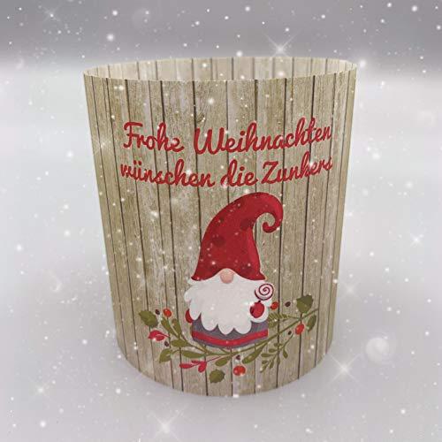 Windlicht Tischlicht Transparentpapier Weihnachten Advent Wichtel Gruß Grußkarte Weihnachtskarte