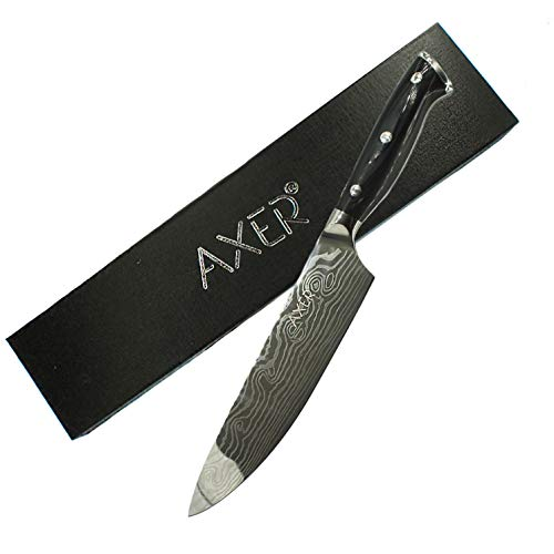 Chef Knife, Kitchen Knife 13 inch, Premier High Carbon German Stainless Steel Knife, Full Tang 8inch Blade Cook Knife with Damascus Pattern, Gift Box Ultra Sharp by Axer(Damascus Style)