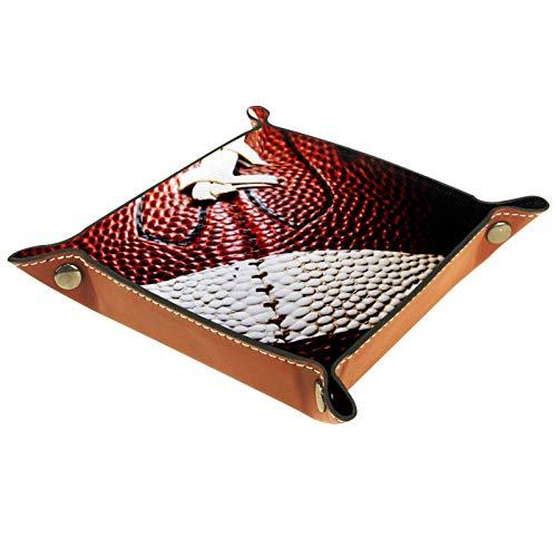 LynnsGraceland Tablett Leder,Helles Rugby,Leder Münzen Tablettschlüssel für Schmuck,Telefon,Uhren,Süßigkeiten,Catchall-Tablett für Männer & Frauen Großes Geschenk