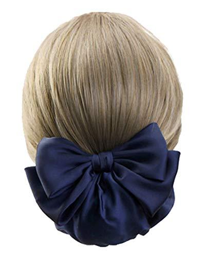 ヘアスタイル、見ちがえる。おだんご ネット ヘアネット シニヨンネット ネットバレッタ バレッタ 大きめリボン 髪どめ シニヨン ヘアバレッタ 冠婚葬祭 ヘアアクセサリー ネイビー