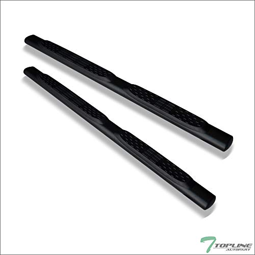 "Topline Autopart 5"" Oval Matte Black Side Step Nerf Bars Rail Running Boards For 05-11 Dodge/Ram Dakota Quad (Crew) Cab"