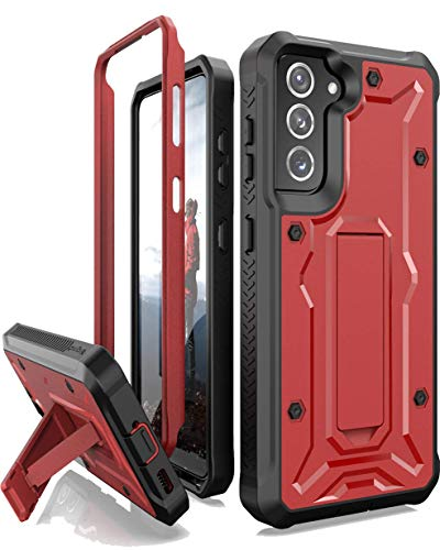 ArmadilloTek Vanguard Compatible with Samsung Galaxy S21 Case, Military Grade Full-Body Rugged with Built-in Kickstand [Screenless Version] - Red