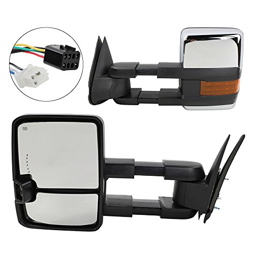 Towing Mirrors with LED Signal Clearance Light Side Mirrors Replacement for 1999-2002 Chevrolet /GMC Silverado/Sierra Power Heated Manual Telescoping Tow Mirrors