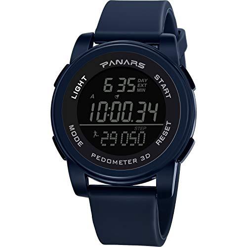 VECOLE Fitness Armband Mode wasserdichter Laufzähler Herren Sport elektronische Uhr Sport Schritt, Bewegungstiming, zeitgesteuertes Geräusch, Stoppuhr-Timing, Leuchtend(Blau)