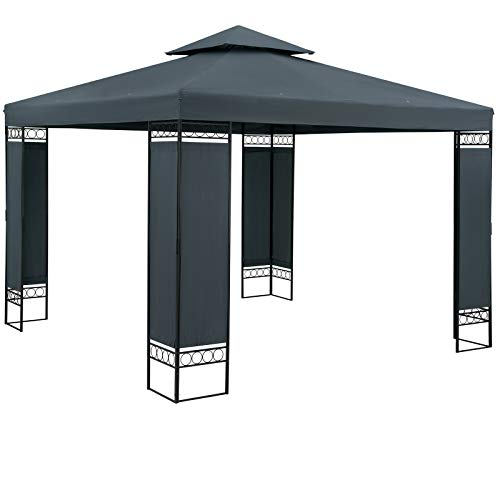 Casaria Pavillon Lorca 3x3m Anthrazit Stabil Wasserabweisend Robust Metall Luxus Gartenpavillon Festzelt Partyzelt Gartenzelt