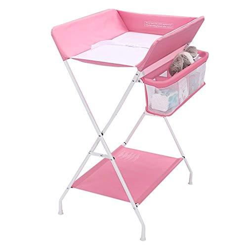 Living Equipment Table Station de table pliante portative pour bébé avec des unités de couches de massage de stockage pour petit organisateur de chambre d'enfant pour nourrisson (Couleur: Rose Tail