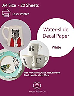 Hayes Paper, Waterslide Decal Paper LASER WHITE 20 Sheets Premium Water-Slide Transfer Transparent Printable Water Slide Decals A4 Size