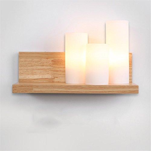 DengWu wandverlichting modern eenvoudig, gang slaapkamer nachtkastje, massief hout, plankenlampen, 12 cm breed, 20 cm hoog