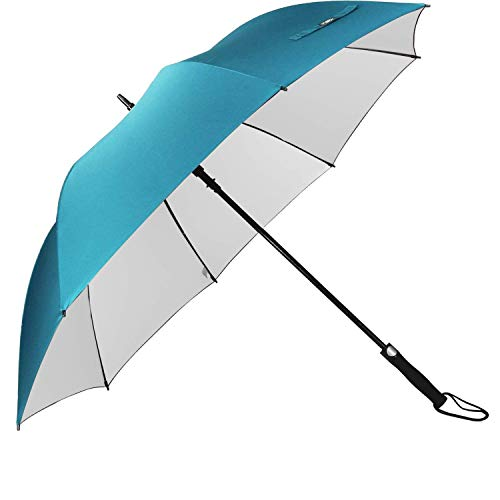 G4Free Windproof UV Protection Golf Umbrella Large 62 Inch Automatic Open Sun Rain Stick Umbrellas(Sky Blue)