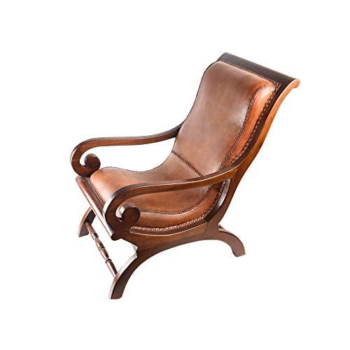 wohnfreuden Stuhl 'Raung' Cognac Brown Teakholz/Leder Sessel Sitzgelegenheit