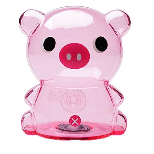 Kassa MYKK Mini Plastic Spaarpot Transparant Spaarpot Beer Kinderen Kindergeldmunten Woondecoratie 13.7 * 11.7cm roze