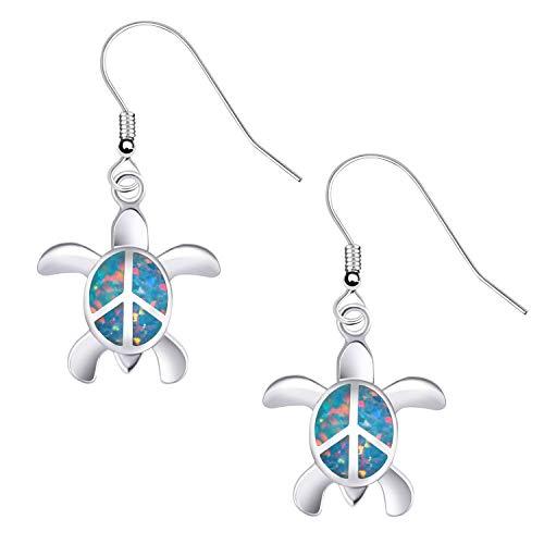 KELITCH Ohrringe Frauen Sterling 925 Sterling Silber Feuer Blau Opal Cluster Edelsteine Nette Schildkröte Ohrstecker für Mädchen Kinder Ohrringe Stecker