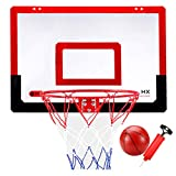 LXLA Canasta Baloncesto Juego de Aro de Baloncesto Interior para Niños, Mini Tablero de Baloncesto Colgante con Bola y Bomba, Regalo Ideal para Niños/Adultos, Fácil de Configurar e Instalar