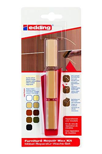 edding 8901 Möbel-Reparatur-Wachs-Set - 3 mischbare Farben - buche-ahorn - Zum Entfernen von Kratzern und Schrammen auf Möbeln und Holz. (Holzkitt / Holzspachtelmasse / Holzfüller), 4-8901-1-4611