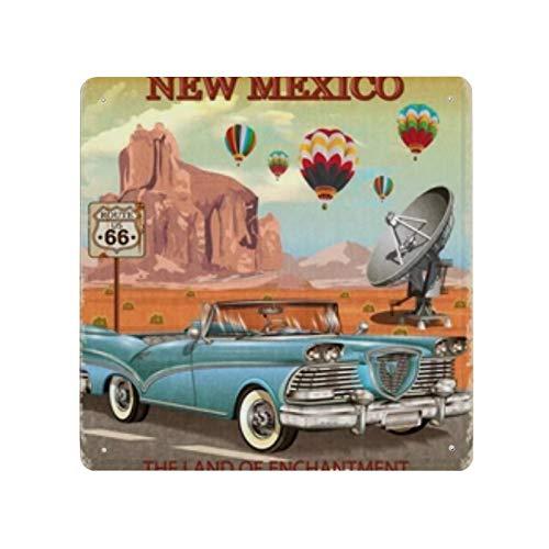 Cartel de cartel de pared de hojalata Vintage New Mexico Road Trip, pared de Metal de hierro, decoración de pared de aluminio, placa, decoración, Cafe Bar, 30x30cm