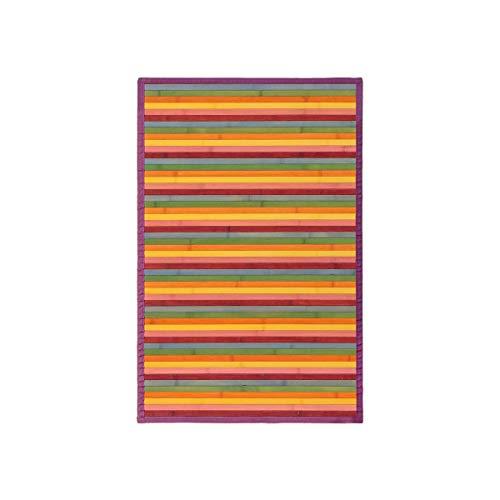 Alfombra Pasillera, Dormitorio o Salón de Madera Bambú(Multicolor, 60 x 90 cm)