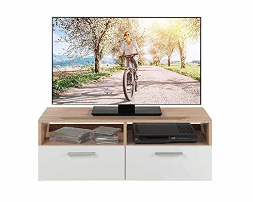 TV Lowboard Fernsehschrank Fernsehtisch Board Bank Rack | Dekor | Braun | Weiß | Holzoptik | Eiche Sonoma | 2 Fächer | 2 Klappen | BxHxT: 95x35x36 cm