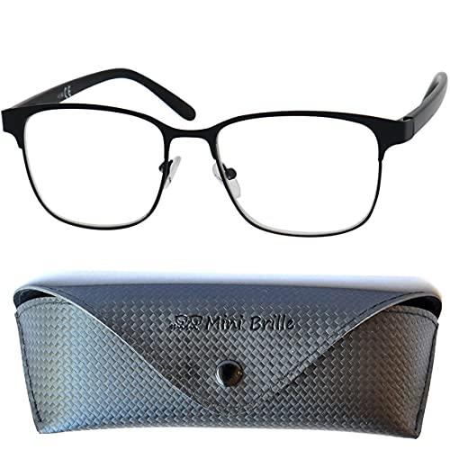 Gafas de Lectura Vintage con Cristales Grandes, Montura de Acero Inoxidable (Negra), Funda GRATIS, Gafas Para Leer Hombre y Mujer +1.5 Dioptrías