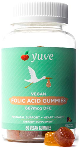 Yuve Vegan Folic Acid Vitamin Gummies 667 mcg DFE - Essential Prenatal Development Support - Maintains Hormal Balance - Cellular & Circulatory Health - Natural, Non-GMO, Gluten & Gelatin Free - 60ct