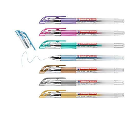 edding 2185 Gelroller - gold, silber, kupfer, blau, gün, violett, pink - 7er-Set - 0,7 mm - Gelstifte zum Schreiben, Malen, Mandala, Bulletjournal - Gelschreiber, Gelmalstifte