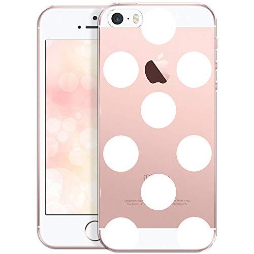 QULT Carcasa para Móvil Compatible con iPhone 5, iPhone SE, Funda iPhone 5S Silicona Dibujo Transparente Suave Bumper Teléfono Caso para iPhone 5, 5S, SE Grandes Puntos Blancos