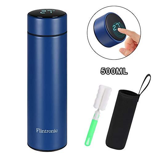 flintronic Thermosflasche, (500ml) Wasserflasche Vakuum Isolierbecher 316 Edelstahl, LED Touchscreen Temperaturanzeige, Smart Becher Dichtflasche Ideal für Hitze und Kälte - Blau