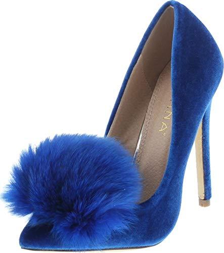 Liliana Affair Velvet Pointy Toe Stiletto High Heel Fur Pom Slip On Pump Slide Shoe Blue 8