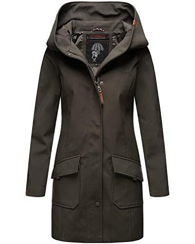 Marikoo Damen Softshell Jacke lang Outdoor Mantel Parka wasserdicht mit Kapuze Mayleen Anthracite Gr. XL