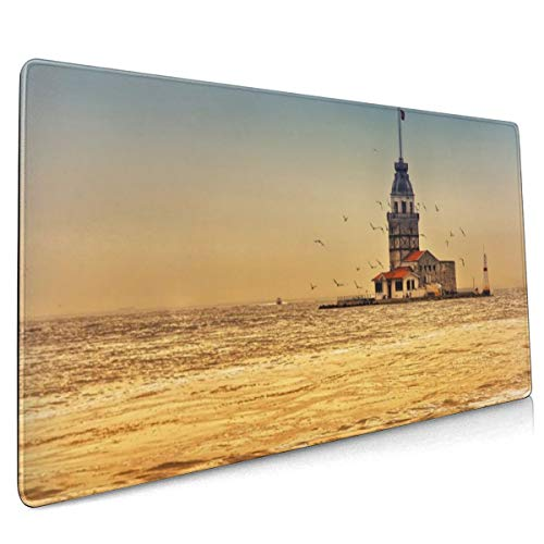 Toren Istanbul Turkije Stad Zee Seagull Mouse Pad Niet Slip Rubber Grote Gaming Toetsenbord Mat 15.8x35.5 In
