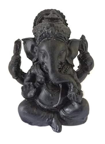 Ganesh miniatur glücksbringer - Schwarze Figur Elefant Gott der Glück der Weisheit, der Intelligenz, Beseitigung aller Hindernisse - Ganesha Talisman - Handgemaltes Harz - Mini Statue H 5 cm